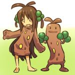 1girl barefoot brown_hair contrapposto cosplay female frown hair hair_bobbles hair_ornament hip_out hitec human long_hair moemon open_mouth personification pokemon pokemon_(creature) pokemon_(game) pokemon_gsc short_twintails sleeves_past_wrists smile sudowoodo sweater twintails