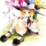 amber_eyes blonde_hair flower hat kirisame_marisa ribbon touhou tsuki_yuuhi tsukiyuuhi undressing yellow_eyes
