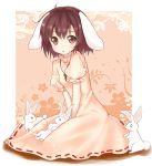 animal_ears bad_id brown_eyes brown_hair bunny bunny_ears inaba_tewi jewelry pendant rabbit rabbit_ears short_hair solo tachi_(piy0) tara_(artist) touhou