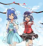 2girls aaaabo arm_wrap bandages belt blue_eyes blue_hair blue_sky branch chinese_clothes clouds dress fang fingernails flower flying_sweatdrops hair_ornament hair_rings hair_stick hat highres kaku_seiga leg_wrap light_particles light_smile miyako_yoshika multiple_girls outstretched_arms shawl short_hair skirt sky star tears touhou vest wink zombie_pose