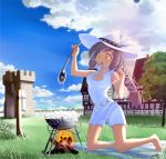 beek clood cloud cooking grey_hair hat highres ladle legs long_hair mabinogi ponytail shorts sky solo spoon yellow_eyes