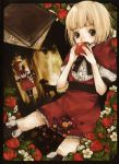 bad_id bangs belt black_eyes blonde_hair blunt_bangs book boots capelet covering_mouth doll dress flower food frills fruit grimm's_fairy_tales holding holding_fruit katou_sami little_red_riding_hood little_red_riding_hood_(grimm) red ribbon sheep short_hair short_sleeves sitting solo strawberry