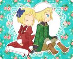 1girl axis_powers_hetalia blonde_hair blue_eyes couple flower lace liechtenstein_(hetalia) shio_(orange_lounge) shio_(pixiv151189) short_hair smile switzerland_(hetalia)