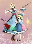 alice_margatroid alice_margatroid_(pc-98) bad_id blonde_hair blue_eyes book boots bow doll dress hair_bow hairband highres hourai_doll mary_janes shanghai_doll shoes socks time_paradox touhou touhou_(pc-98) weapon