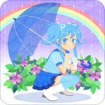 blue_hair blue_legwear blue_thighhighs blush boots flower hydrangea legs original rain rainbow shio_(orange_lounge) shio_(pixiv151189) single_glove skirt solo squatting thigh-highs thighhighs umbrella