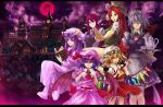 blonde_hair blue_hair book braid china_dress chinese_clothes flandre_scarlet full_moon guchico hat highres hong_meiling izayoi_sakuya koakuma long_hair maid molze moon patchouli_knowledge ponytail purple_eyes purple_hair red_eyes red_hair red_moon redhead remilia_scarlet scarlet_devil_mansion short_hair side_ponytail silver_hair touhou twin_braids violet_eyes wings