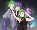 1boy 1girl blue_eyes butterfly_wings china_dress chinese_clothes couple green_eyes green_hair gumi headphones hetero kamui_gakupo long_hair magnet_(vocaloid) ohse purple_hair short_hair vocaloid wings