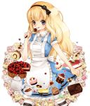 alice_(wonderland) alice_in_wonderland apron blonde_hair cake checkerboard_cookie chocolate coffee cookie cup curly_hair dress flower food fork frills fruit hairband katou_sami long_hair macaron mont_blanc_(food) pastry purple_eyes ribbon rose short_sleeves solo strawberry striped striped_legwear striped_thighhighs thigh-highs thighhighs tongue violet_eyes