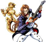 2boys brown_hair guitar instrument jojo_no_kimyou_na_bouken long_hair multiple_boys orange_hair otoishi_akira patsuki red_hot_chili_pepper_(stand) scar