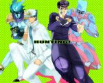 4boys black_hair clam-yunyu crazy_diamond gakuran gun hat higashikata_jousuke jojo_no_kimyou_na_bouken kuujou_joutarou long_coat multiple_boys pompadour school_uniform stand_(jojo) star_platinum weapon
