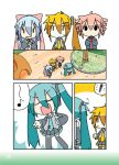 :3 akita_neru aqua_hair blonde_hair blue_hair chibi_miku comic dog drill_hair hair_ribbon hamo_(dog) hatsune_miku kasane_teto kiyone_suzu microphone minami_(artist) multiple_girls musical_note pink_hair ribbon side_ponytail twin_drills twintails utau vocaloid