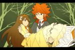 1boy 1girl amemiya_taiyou blue_eyes brown_eyes brown_hair carrying dress enekon flower frills gosick gothic gothic_lolita hairband inazuma_eleven_(series) inazuma_eleven_go inazuma_eleven_go_chrono_stone kujou_kazuya lolita_fashion long_hair male nanobana_kinako necktie princess_carry ribbon seiyuu_connection smile tree victorica_de_blois