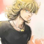 arimaty barnaby_brooks_jr blonde_hair glasses green_eyes jewelry male necklace solo t-shirt tiger_&_bunny