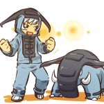 clenched_fists clenched_hand cosplay donphan fang female fist hair hitec hoodie human moemon open_mouth pants personification pokemon pokemon_(creature) pokemon_(game) pokemon_gsc short_hair tusks white_hair