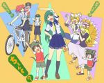 ^_^ animal_ears azumanga_daioh azumanga_daiou bicycle blonde_hair brown_eyes brown_hair cat_ears cat_tail chen closed_eyes contemporary drooling eyes_closed fox_tail frog green_hair hat hat_with_ears junkei kochiya_sanae long_hair multiple_girls onozuka_komachi pantyhose parody police police_uniform red_eyes sandals school_uniform serafuku shikieiki_yamaxanadu short_hair tail touhou twintails uniform yakumo_ran yakumo_yukari yotsubato! yotsubato!_pose