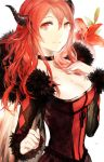 1girl breasts choker cleavage demon_girl dress flower fur_trim highres horns large_breasts long_hair looking_at_viewer maou_(maoyuu) maoyuu_maou_yuusha moemoe3345 red_eyes redhead smile solo