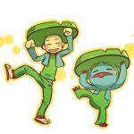 1boy arms_up blush_stickers closed_eyes cosplay dancing hitec human leg_lift leg_raised lombre male moemon personification pokemon pokemon_(creature) pokemon_(game) pokemon_rse sandals