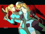 androgynous ass bandage bandages blonde_hair blue_eyes bodysuit braid gun hair_over_one_eye knife long_hair looking_back metroid multiple_girls nintendo ponytail red_eyes reverse_trap samus_aran sheath sheathed sheik single_braid sudakoyarou super_smash_bros. text the_legend_of_zelda throwing_needles turban weapon whip yuri zero_suit