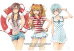 bare_shoulders blue_eyes blue_hair bracelet breasts brown_hair buttons cleavage dress evangelion:_2.0_you_can_(not)_advance glasses green_eyes hand_on_hip hips innertube jewelry long_hair makinami_mari_illustrious midriff nagisa-a navel neon_genesis_evangelion polka_dot ponytail rebuild_of_evangelion red_eyes red_hair redhead sailor shikinami_asuka_langley short_hair shorts skirt smile soryu_asuka_langley souryuu_asuka_langley striped torn_clothes twintails unmoving_pattern v white