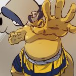 1boy fat fat_man hands hariyama hitec male moemon navel nipples outstretched_hand personification pokemon pokemon_(creature) pokemon_(game) pokemon_rse solo sumo topless white_hair
