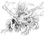 1girl alcina_dimitrescu alternate_form breasts claws doppel_(bonnypir) evil_smile fangs greyscale highres long_tongue looking_at_viewer monochrome monster monster_girl resident_evil resident_evil_village simple_background smile solo spoilers tentacles tongue wings