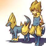 1boy blonde_hair boots cosplay hair hands_in_pockets hitec human male manectric moemon personification pointy_ears pokemon pokemon_(creature) pokemon_(game) pokemon_rse popped_collar spiked_hair spiky_hair standing tail