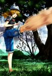 artist_request bad_id barefoot bracelet brown_hair copyright_request fedora feet fighting_pose fighting_stance flower grass hat highres jeans jewelry kicking martial_arts nature ponytail rose shorts solo t-shirt t_shirt torn_clothes torn_jeans tree water waterfall