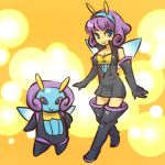1girl blue_eyes boots breasts cleavage cosplay elbow_gloves female gloves hitec human illumise looking_at_viewer moemon personification pokemon pokemon_(creature) pokemon_(game) pokemon_rse popped_collar purple_eyes purple_hair smile thigh-highs thigh_boots thighhighs unzipped wings zettai_ryouiki