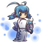 1girl barboach blue blue_eyes blue_hair cosplay dress female hair hitec holding human japanese_clothes kimono moemon no_mouth personification pokemon pokemon_(creature) pokemon_(game) pokemon_rse sleeves_past_wrists