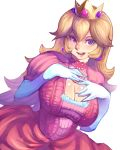 background blue_eyes blush breasts brooch bros. cleavage cleavage_cutout crown cutout dress earrings elbow elbow_gloves gloves highres jewelry large large_breasts long_hair mario metata mouth nintendo open open_mouth princess princess_peach purple_eyes smile solo super super_mario_bros. white white_background white_gloves
