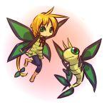 1girl antenna_hair blonde_hair camisole cosplay female green_eyes hitec human insect_wings long_hair moemon personification pokemon pokemon_(creature) pokemon_(game) pokemon_rse ponytail vibrava wings yellow_eyes