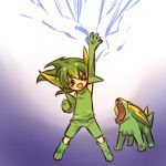 cosplay elbow_gloves electricity electrike fang gloves green_hair hand_raised hitec human male moemon open_mouth personification pokemon pokemon_(creature) pokemon_(game) pokemon_rse raised_hand shorts