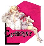 atlus blonde_hair blue_eyes bow catherine catherine_(game) choker dress drill_hair eyeshadow makeup sheep smile thigh-highs thighhighs twintails white_legwear yurichi_(artist)