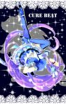 blue_legwear boots brooch character_name cure_beat dress earrings frills gloves hair_ornament hair_ribbon hairpin heart highres jewelry kurokawa_ellen long_hair magical_girl mamepote ponytail precure purple_hair ribbon siren_(suite_precure) solo sparkle suite_precure thigh-highs thigh_boots thighhighs upside-down very_long_hair yellow_eyes