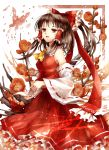 ascot bare_shoulders bow brown_hair butterfly detached_sleeves flower hair_bow hair_tubes hakurei_reimu hands_together highres looking_at_viewer meutan131 miko petticoat ponytail red_eyes skirt solo touhou