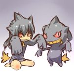 androgynous arms_up banette black_hair cosplay fang grin hitec human kneeling moemon personification pokemon pokemon_(creature) pokemon_(game) pokemon_rse red_eyes sleeves_past_wrists smile spiked_hair spiky_hair tail zipper