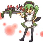 >:) >:d 1girl anorith apron black_legwear bow cosplay drill_hair female green_hair hair_bobbles hair_ornament hand_on_hip hips hitec human maid moemon open_mouth pantyhose personification platter pokemon pokemon_(creature) pokemon_(game) pokemon_rse shoes smile tray trembling twintails