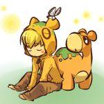 blonde_hair blush_stickers butterfly closed_eyes cosplay hair hitec hoodie moemon numel pants personification pokemon pokemon_(creature) pokemon_(game) pokemon_rse sitting sleeping
