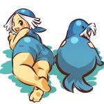 1girl ass back bandana blush_stickers cosplay fang fat female hitec human looking_back moemon open_mouth personification pokemon pokemon_(creature) sealeo smile swimsuit tusks white_hair