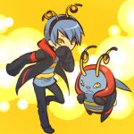 1boy antennae blue_hair coat cosplay covering covering_face covering_mouth fake_animal_ears grey_hair hitec hoodie human male moemon personification pokemon pokemon_(creature) pokemon_(game) pokemon_rse sleeves_past_wrists volbeat yellow_eyes