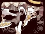 arms_up black_eyes blonde_hair bowtie brown_hair cane cloud earrings eating flower fork formal gamu gloves grin hat holding holding_fork jewelry kagamine_len lip_piercing male monochrome_dream_eater piercing plate ponytail ribbon sleeves_rolled_up smile solo star top_hat vocaloid white_skin wink yumekui_shirokuro_baku