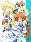 ^_^ blonde_hair blue_eyes blush bow brown_hair butterfly_net chibi closed_eyes face_mask fate_testarossa gag gagged hair_bow hand_net highres hug long_hair lyrical_nanoha magical_girl mahou_shoujo_lyrical_nanoha mahou_shoujo_lyrical_nanoha_strikers mahou_shoujo_lyrical_nanoha_the_movie_1st o_o open_mouth ponytail ribbon sen_(astronomy) side_ponytail smile sunglasses surgical_mask takamachi_nanoha tape twintails you_gonna_get_raped