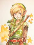 blonde_hair blue_eyes buckle hat link male morito_leaf9 nintendo pointy_ears smile star the_legend_of_zelda traditional_media tunic watercolor_(medium)