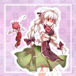 ? alternate_hairstyle bandage bandages blush bow braid bun_cover cosplay costume_switch crossed_arms double_bun flower fujiwara_no_mokou fujiwara_no_mokou_(cosplay) hair_bow ibara_kasen ibara_kasen_(cosplay) ibaraki_kasen ibaraki_kasen_(cosplay) long_hair multiple_girls musical_note pants pink_hair red_eyes short_hair skirt sleeves_past_wrists suspenders touhou twin_braids twintails very_long_hair white_hair yetworldview_kaze