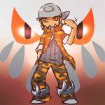 1boy bandana brown_hair camouflage hand_in_pocket heatran hitec male moemon motion_lines orange_eyes personification pokemon pokemon_(game) pokemon_dppt solo unzipped