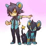 1boy animal_ears black_hair blue_hair clenched_hand cosplay fist hair hitec human luxio male moemon necktie personification pokemon pokemon_(creature) pokemon_(game) pokemon_dppt ponytail rat_tail short_hair tail yellow_eyes