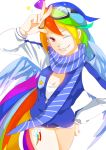1girl absurdres goggles goggles_on_head highres horse_tail jacket kumo_ni_notte my_little_pony my_little_pony_friendship_is_magic personification rainbow_dash short_shorts shorts tail wings