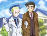 akuroma_(pokemon) arm_grab blonde_hair blue_hair blush brown_eyes commentary_request couple glasses gloves handsome_(pokemon) looker_(pokemon) looking_at_another male multicolored_hair necktie outdoors parted_lips pokemon pokemon_(game) pokemon_xy smile soara tagme trench_coat two-tone_hair yaoi yellow_eyes