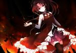 bare_shoulders black_legwear boots dark detached_sleeves dress expressionless fire frills long_hair looking_at_viewer mahou_shoujo_madoka_magica pleated_skirt ponytail red red_eyes red_hair sakura_kyouko skirt solo sura_(mana0703) thighhighs