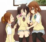 bad_id black_hair brown_eyes brown_hair cat_ears cat_teaser hirasawa_ui hirasawa_yui k-on! long_hair mirin_(youton_jou) nakano_azusa pantyhose ponytail school_uniform short_hair tickling twintails
